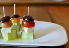 Greek Salad on a stick. Simple to make, healthy, and delicious!