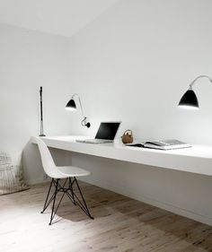 Minimalistic home office.  Love these sleek lines. Brought to you by Shoplet.com - everything for your business. bureaus, interior design, office spaces, cleanses, workspaces, white, desks, homes, home offices