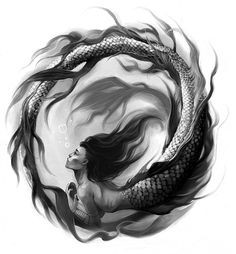 Black & White by Eva Widermann...I would color the mermaids hair red just for dramatic effect...insanely beautiful either way