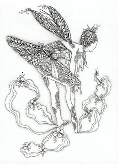 zentangle ballerina, fairi tangl, color, zentangl fairi, zentangle fairies