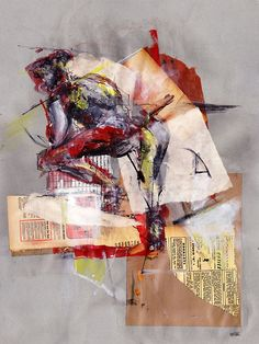 "figure study #3  ""sleeping""    by Tres Roemer ©2012    18""x24"" mixed media collage    acrylic paint, graphite, ink, pen"