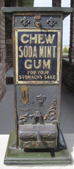 Freeport Chew Soda Mint Gum Machine Antique Arcade Gumball Peanut and Slot Machines Trade Stimulators Dice Roulette Vintage Gambling Horse Race Breath Pellet