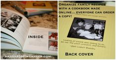 Collect family recipes and create a cookbook online where everyone can order a copy.  Never lose those precious recipes (or photos)!  #recipebook #tradition #gift #keepsake #heirloom #harvardhomemaker