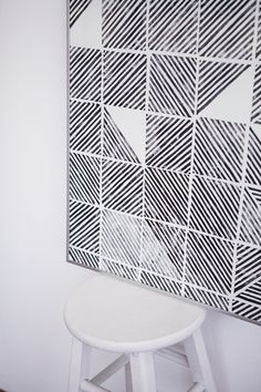 Large graphic wall art using a DIY stamp