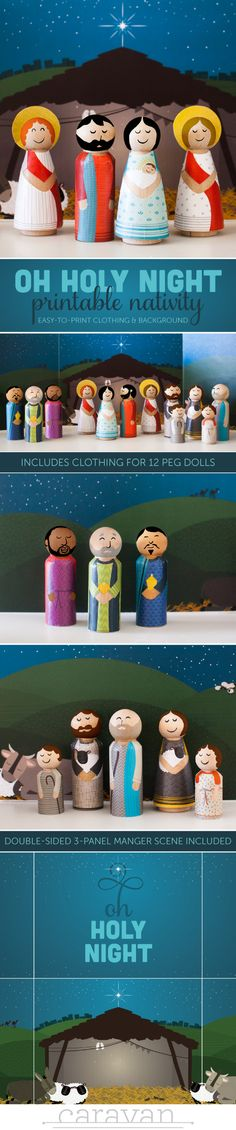 Oh Holy Night Nativity: Print the clothes for peg dolls and adhere with Mod Podge! Comes with manger background scene!