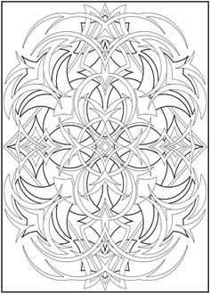 Colouring-in page - answers for samples from Creative Haven 3-D Abstracts Coloring Book' via Dover Publications ~s~