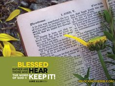 """""""…Blessed rather are those who hear the Word of God and keep it!"""" Luke 11:28 #Bible @UnlckngtheBible"""