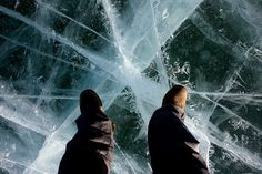 Trekking across frozen Lake Baikal in Siberia