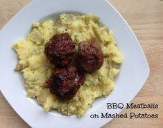 Costco Plan #2 BBQ Meatballs on Mashed Potatoes