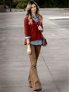 Love the denim shirt with the red sweater and brown pants. free people pants