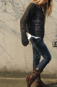 slate gray oversized grunge sweater /3 LEFT in this by ileaiye, $100.00