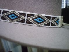 peyote+beaded+hat+bands   Native American Style Beaded Hat Band~Peyote Beaded Hatband