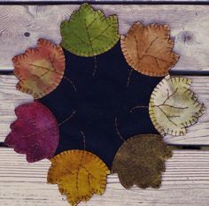 Penny Rug Wool Autumn Leaves Table Runner by happyvalleyprimitive, $24.95
