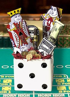 auction baskets, gift baskets, dice, game night, gift basket ideas, raffle baskets, card games, gift idea, casino night