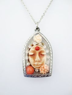 Pendant Necklace Goddess Within Diorama Collage Peach by BlancheB, $46.00