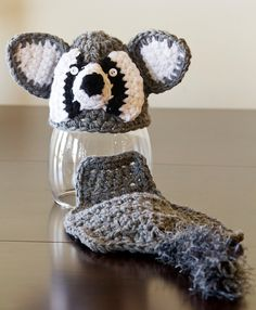 Rascal Raccoon Hat and Diaper Cover Set. $25.00, via Etsy.