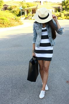 straw hats, weekend outfit, the dress, black white, summer outfits, jean jackets, shoe, stripe, fedora