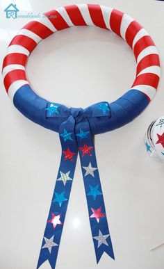 Fourth of July Wreath - Pool Noodle Craft