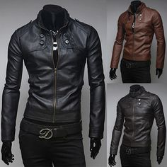 Slim Fit Zip Up Men Faux Leather Jacket | Sneak Outfitters