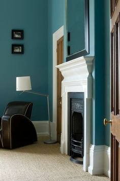 Like the carpet and fireplace. Paint is Farrow Ball Stone Blue.