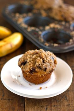 Whole Wheat Chocolate Chip Banana Peanut Butter Muffins