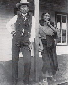 1892 - Quanah Parker and his wife Tonasa. He was Comanche/Scots-Irish from the Comanche band Noconis, Comanche chief, leader in the Native American Church, and the last leader of the powerful Quahadi band before they surrendered their battle of the Great Plains and went to a reservation in Indian Territory. He was the son of Comanche chief Peta Nocona and Cynthia Ann Parker, a European American, who had been kidnapped at the age of nine and assimilated into the tribe.