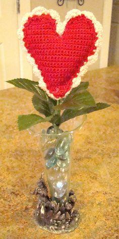 Valentine Heart Flowers - free crochet pattern