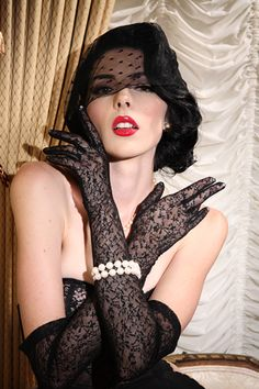Secrets In Lace Black Lace Over Elbow Glove