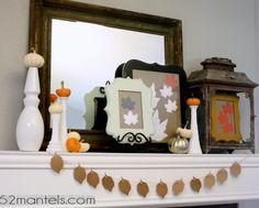 52 Mantels: Pumpkins & Leaves on a Fall Mantel #fall #mantel holiday, fall decor, fall mantels, beauti fall, mantel idea, 52 mantel, fabul fall, 30 fall, halloween