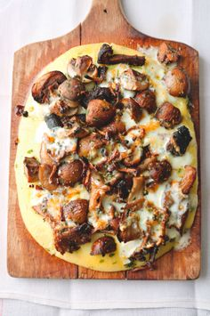 Mushrooms on herb polenta with tallegio. Yotam Ottolenghi.