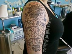 Craft tattoo outline, love the line work here!  I want to get a half sleeve like this at some point.