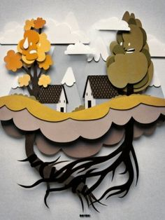 Papercraft illustration. Reminds me of Adventure Time