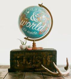 Vintage Life Is Short Globe
