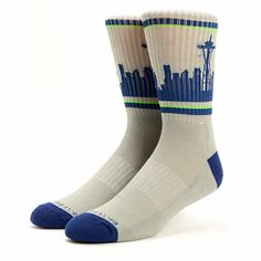Head out in the Emerald City with a Seahawks inspired look of the Skyline Seattle grey, blue, and green crew socks.