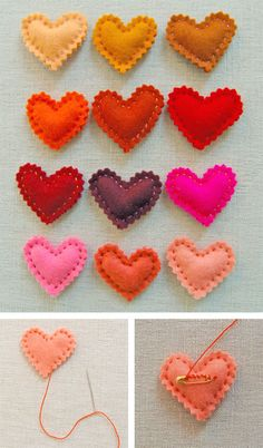 Heart pins - Felt & hot glue, sew safety pin?
