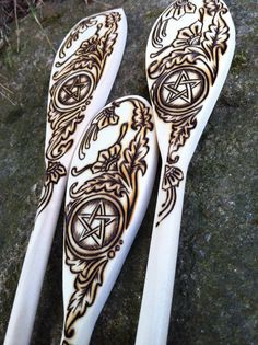 wood burning spoons