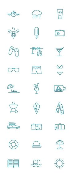 draw, graphic design, summer pictogram, summer vacations, icon design, symbol, behance, kenneth knudsen, icons