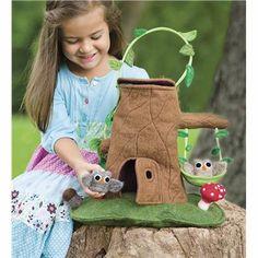 tree stumps, toy, felt tree, trees, cottages