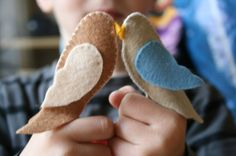 Two Little Dickie Birds - a pair of wool felt finger puppets. X