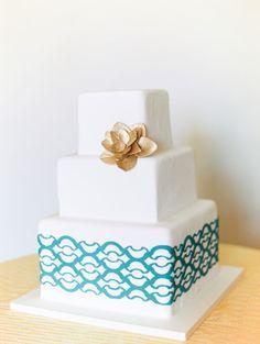 Modern, printed wedding cake: http://www.stylemepretty.com/2014/09/16/modern-print-tablescape-inspiration/ | Photography: Kina Wicks - http://www.kinawicks.com/