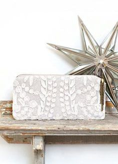 Linen and Lace Purse Ivory Clutch Women's Bag Holiday
