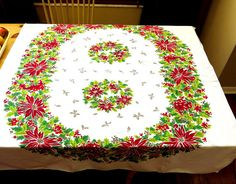 Vintage Christmas Tablecloth 1960s Cotton Wreath Poinsettia Design