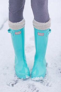 Turquoise rain boots