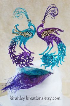 Peacock Feather Cake Decorations | PEACOCK Wedding Cake Toppers -- Stunning & Sparkling Pair Turquoise ...