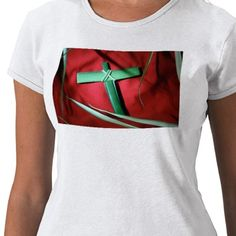 Palm Sunday T-Shirts. Easter cross made from palms on red velvet background. More styles available.