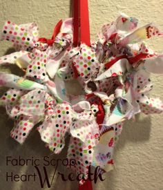 Fabric Scrap Heart Wreath