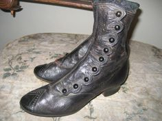 Just stuff.............. Girl's high top button shoes