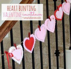 heart bunting valentine countdown | simplykierste.com. ❤CQ #love #red #hearts #valentines http://pinterest.com/CoronaQueen/love/