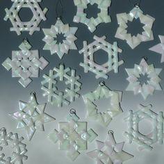 White Iridized Fused Glass Snowflakes