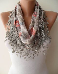 Light Grey Scarf with Same Color Trim Edge  by SwedishShop on Etsy, $15.90